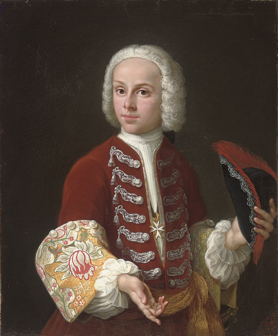Portrait of a youth of the Order of Malta, half-length, in a red velvet coat with silver frogging and embroidered cuffs, and a medallion of the Order of Malta, a tricorn in his left hand