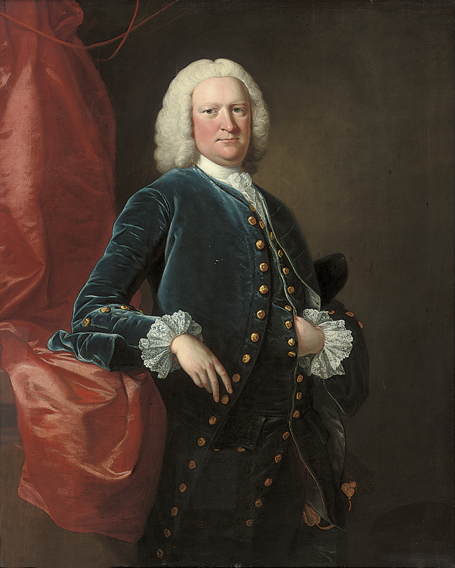 Portrait of Ralph Thrale (1686-1758), three-quarter-length, in a blue velvet coat and waistcoat