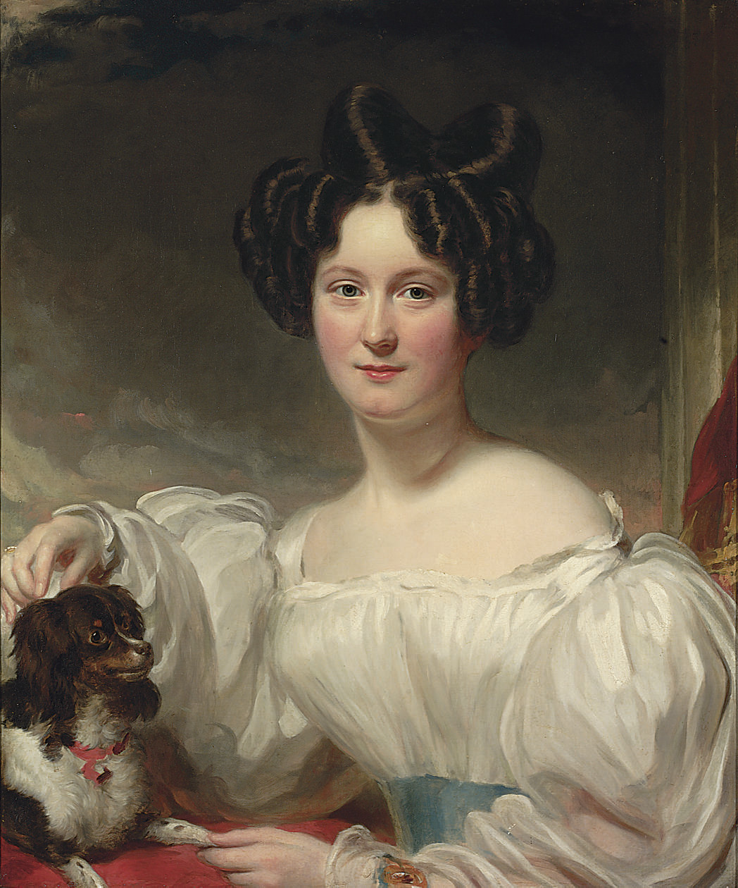 Portrait of Mary Aston Walker, née Hoggart (b.1809), half-length, in a white dress, with a King Charles spaniel