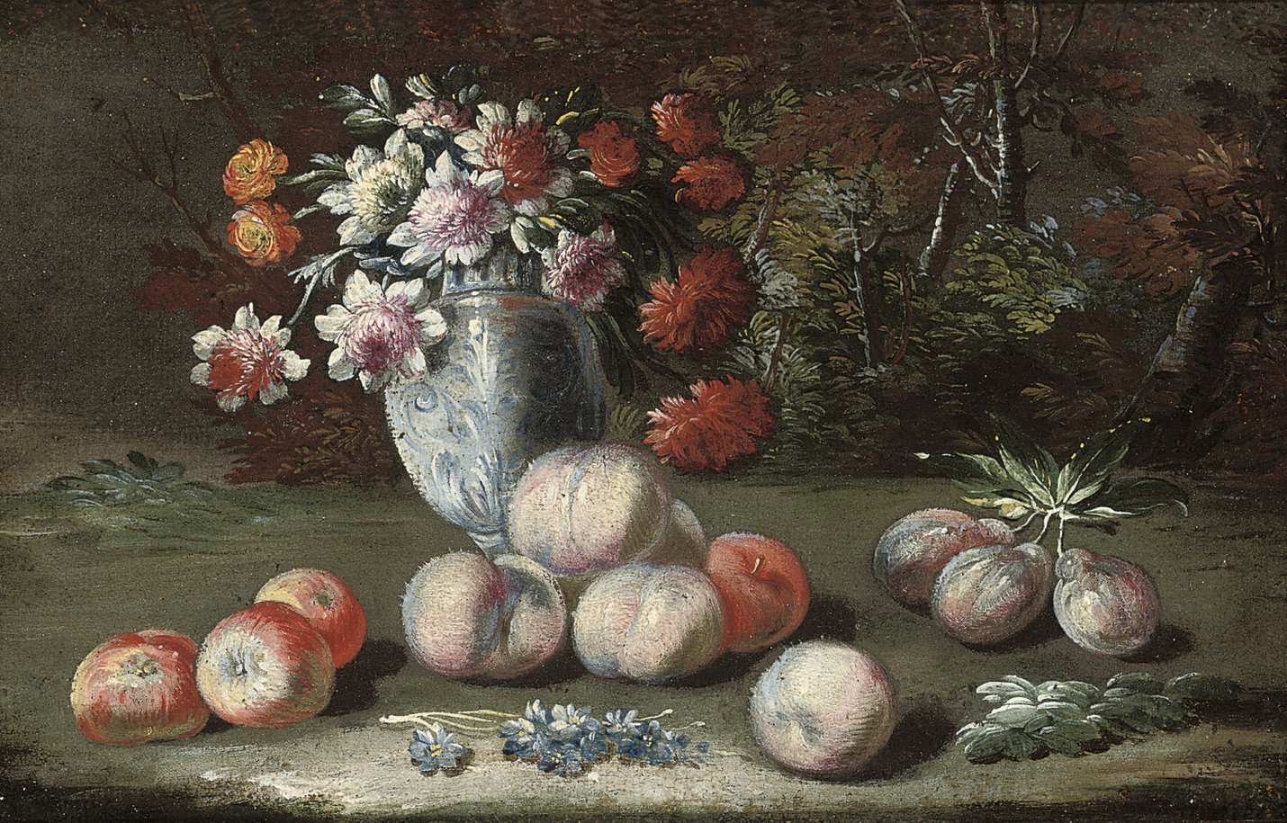 Chrysanthemums in a china vase, with apples, peaches and plums, in a landscape