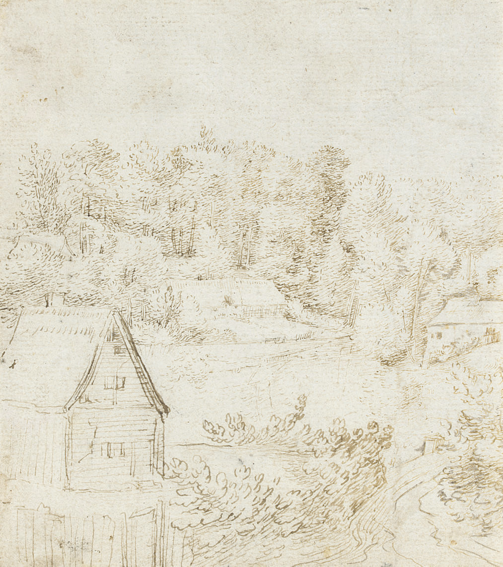 A landscape with buildings