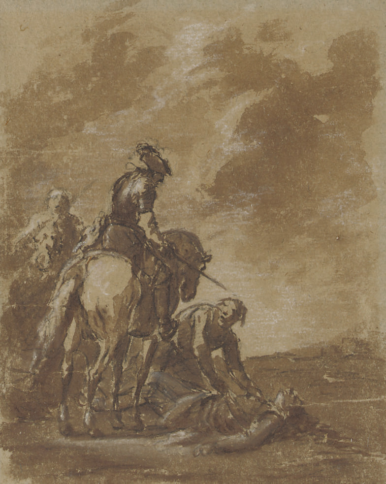 Two figures on horseback, with a man tending to a wounded soldier