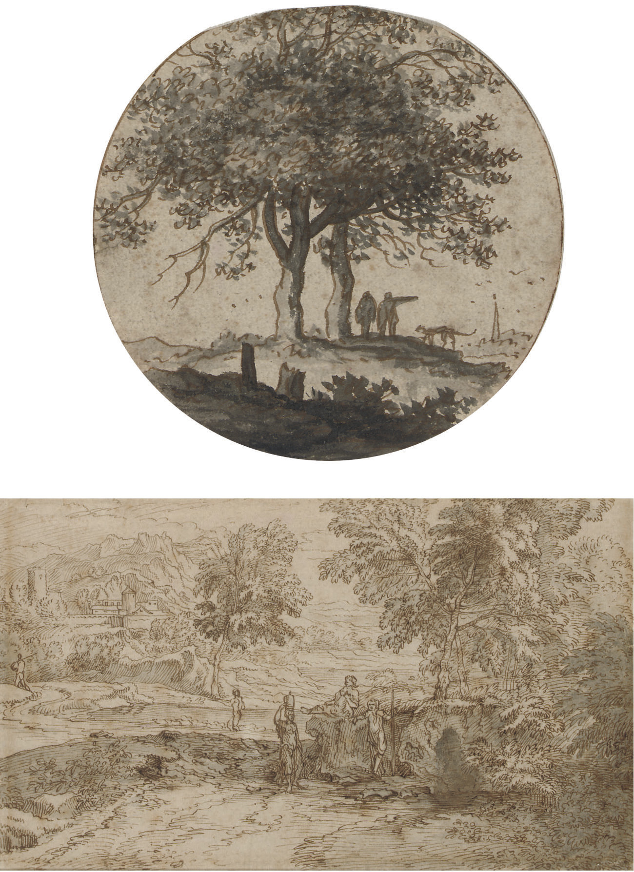 Two figures with a dog beside two trees