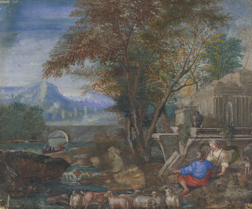 Figures and animals by ruins in a mountainous river landscape