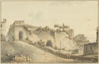 The castle of Capodimonte, Naples, with Vesuvius in the distance