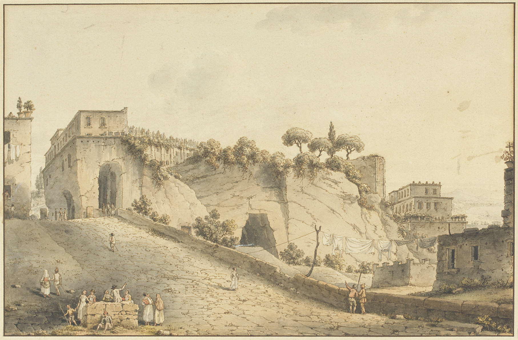 The castle of Capodimonte, Naples, with Vesuvius in the distance