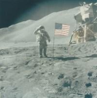 Astronaut David Scott gives salute beside U.S. flag, Apollo 15 Mission, August 1971
