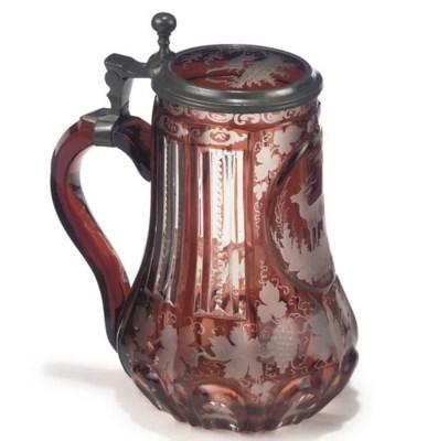 A BOHEMIAN GLASS PEWTER-MOUNTE