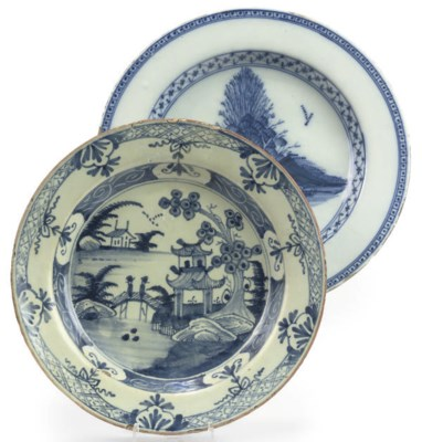 TWO ENGLISH DELFT BLUE AND WHI
