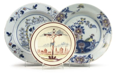 TWO ENGLISH DELFT POLYCHROME P
