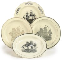 TWO SHORTHOSE & HEATH TRANSFER-PRINTED CREAMWARE PLATES AND TWO OTHERS