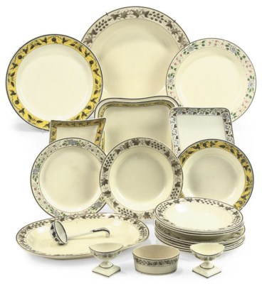 A GROUP OF ENAMELLED CREAMWARE