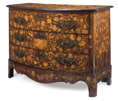 A DUTCH ROSEWOOD AND MARQUETRY