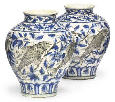 A PAIR OF QAJAR VASES WITH FIS