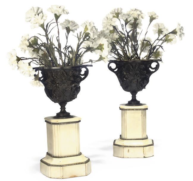 A PAIR OF FRENCH BRONZE TWO-HA