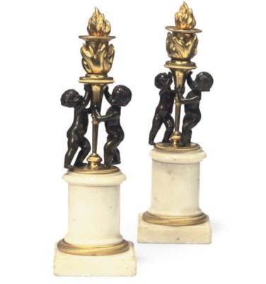 A PAIR OF FRENCH BRONZE AND GI