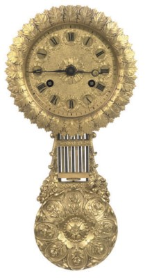 A FRENCH GILT-BRASS WALL CLOCK