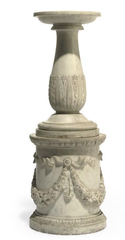 An Italian white marble pedest
