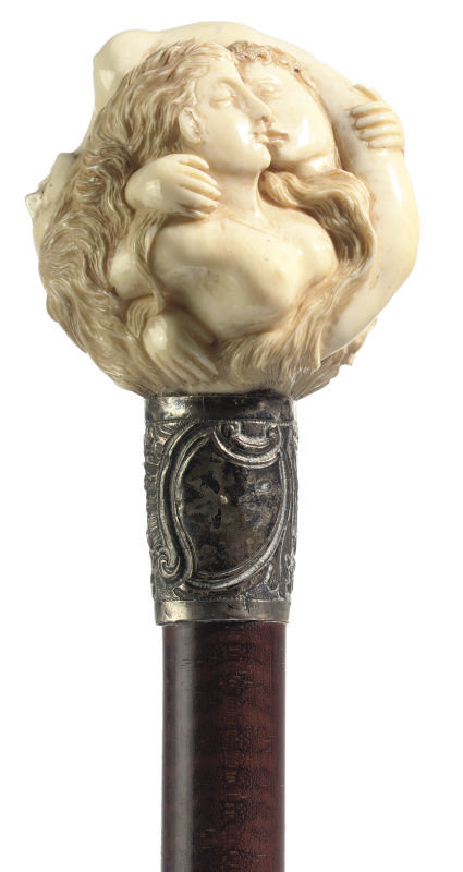 An ivory-handled walking stick