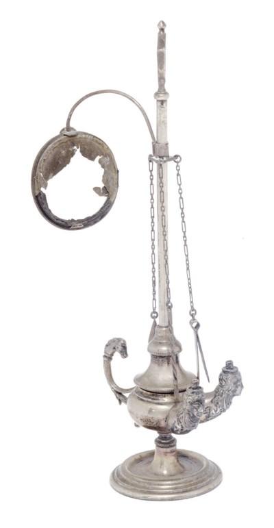 An Italian silver lampada