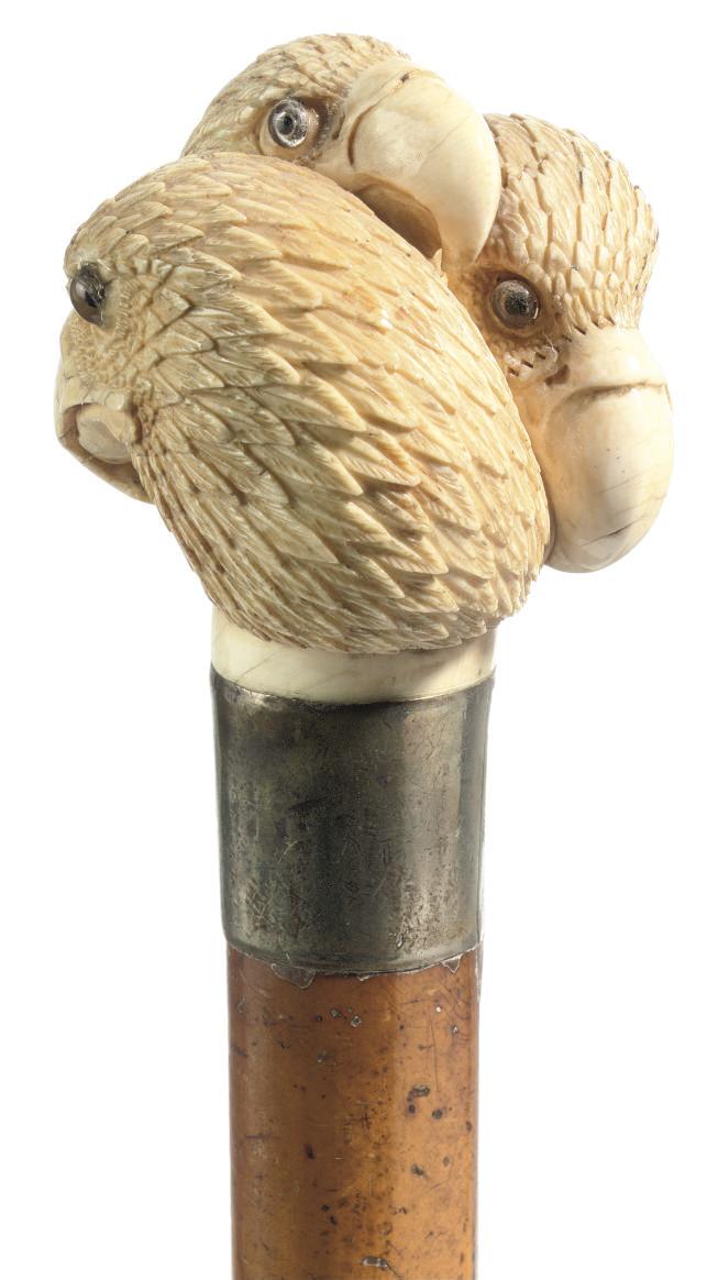 An ivory-handled walking stick