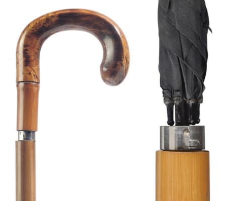 A walking stick/umbrella with