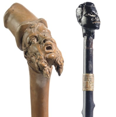 A German antler, cane and bamb