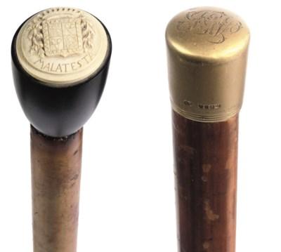 An ivory and ebony-handled wal