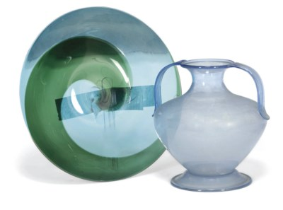 A Venini glass dish and a Vene