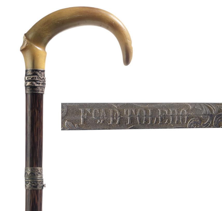 A horn-handled walking  sword