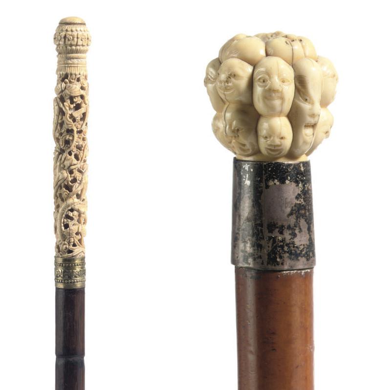 A Chinese ivory handled walkin