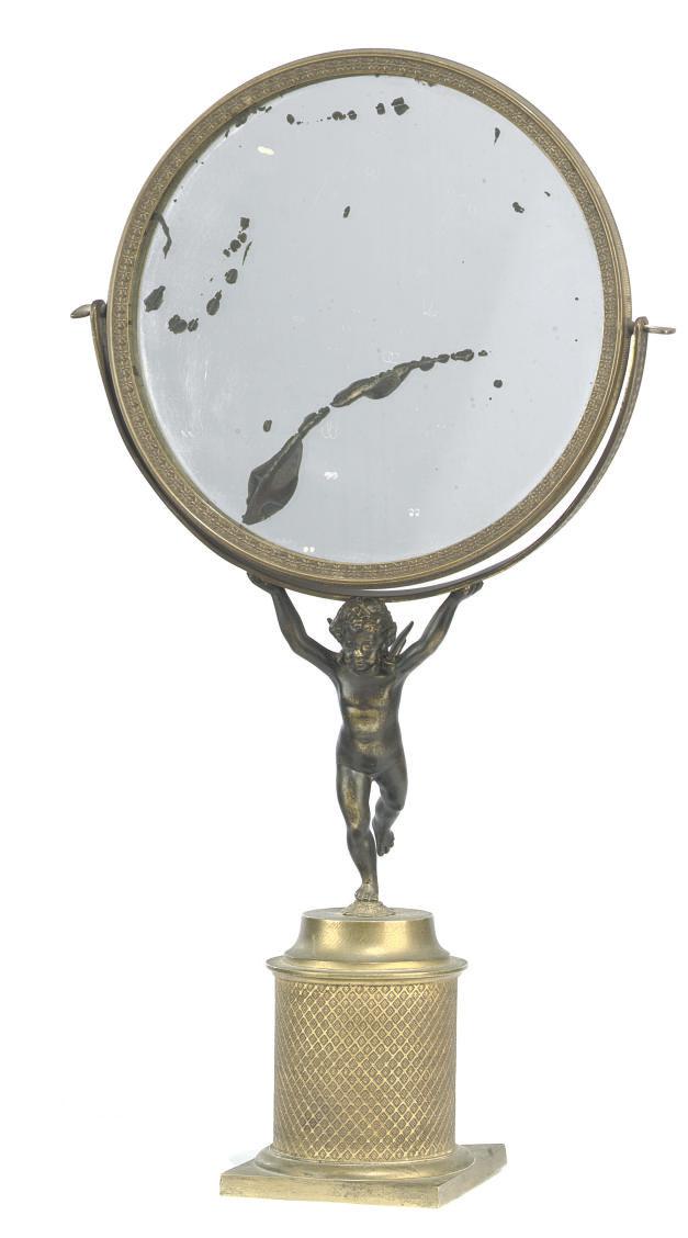 A French ormolu table mirror