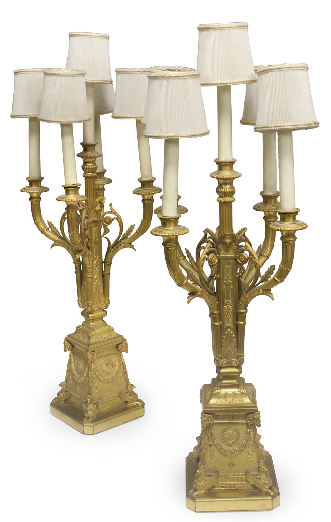 A pair of Italian ormolu five-