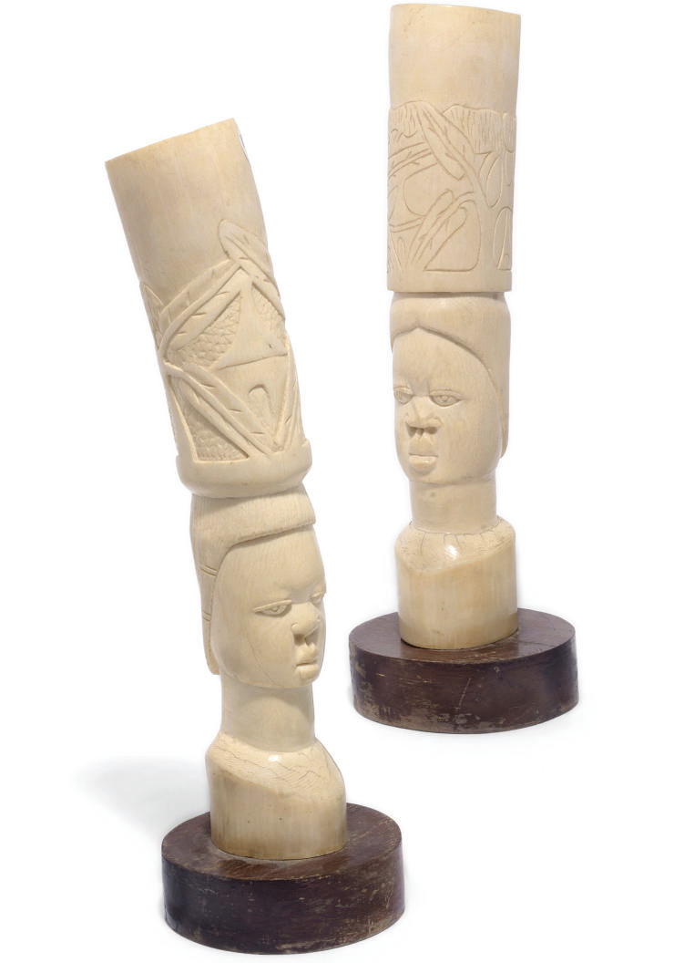 A pair of French African ivory