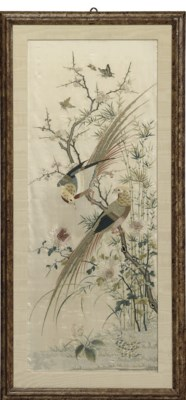 A pair of Chinese silkwork pan