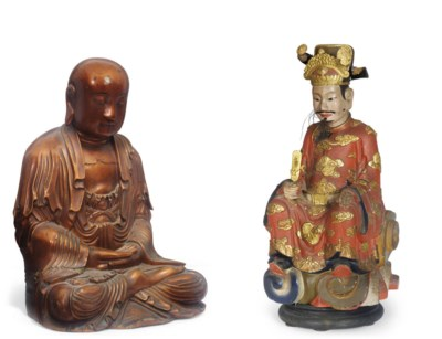 A Chinese polychrome and gilt-