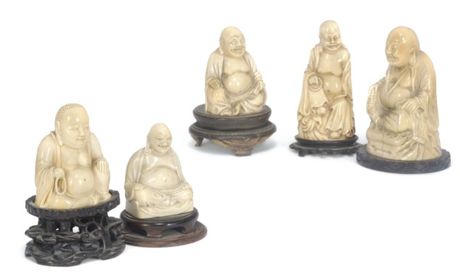 A group of five Chinese ivory