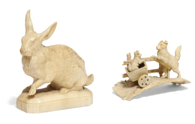 An ivory model of a hare