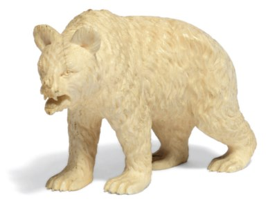 An ivory model of a bear