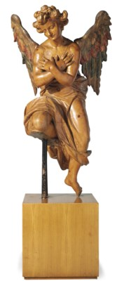 A Tyrolean carved pine angel