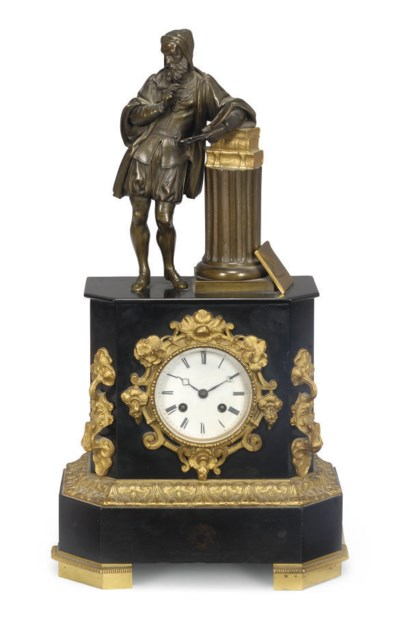 A French gilt-bronze and black