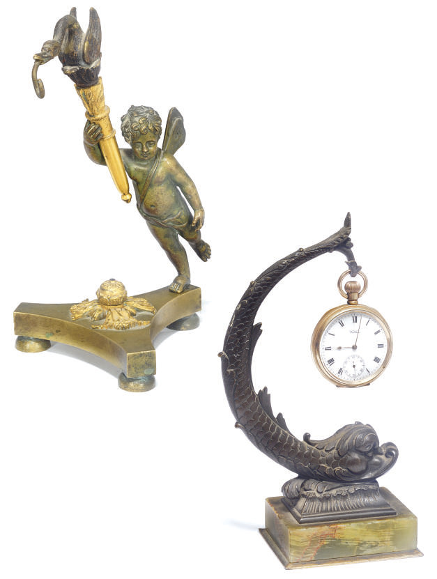 A FRENCH BRONZE AND ORMOLU WAT