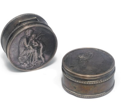 A pair of French silver snuff
