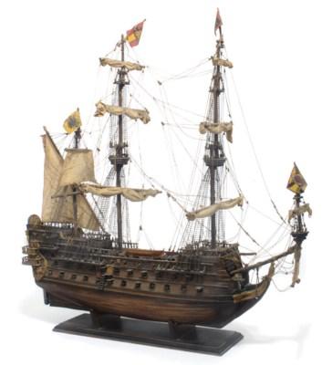 A three-masted man-of-war ship