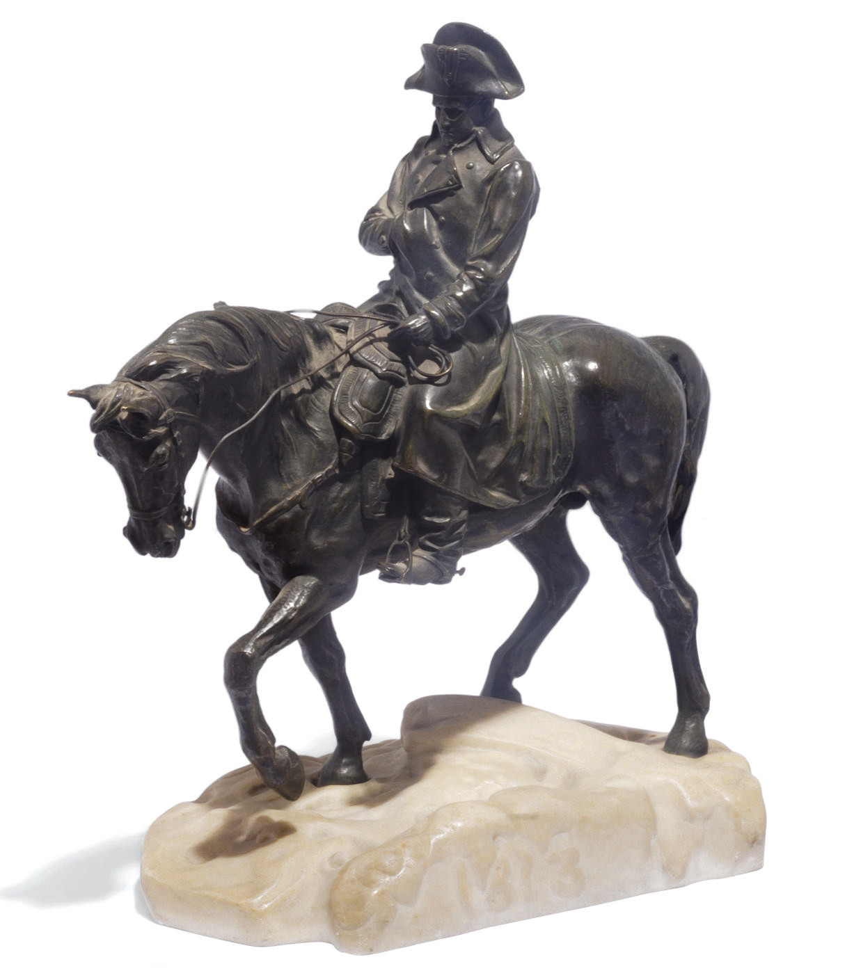 A bronze group of Napoleon on