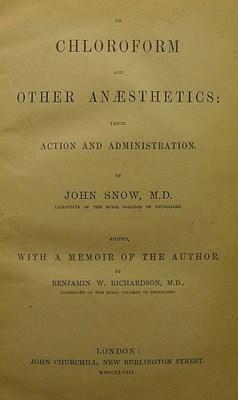 SNOW, John (1813-1858). On Chl