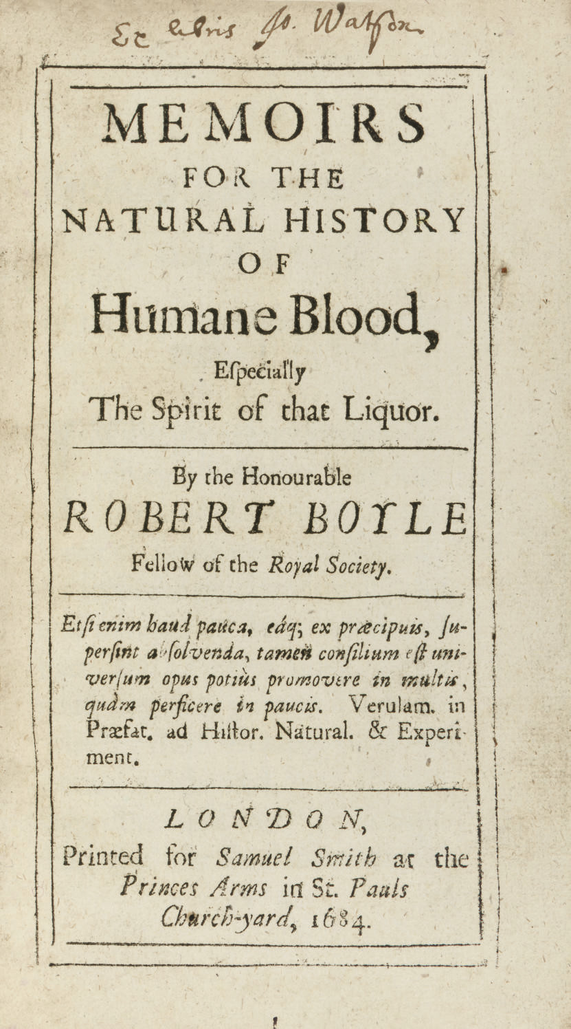 BOYLE, Robert (1627-1691). Mem