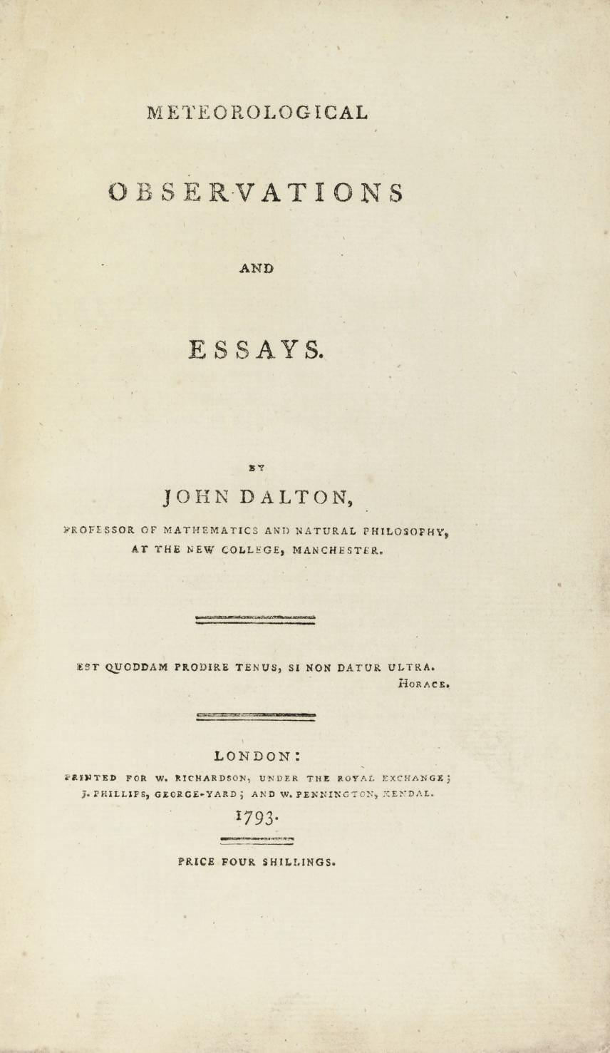 DALTON, John (1766-1844). Mete