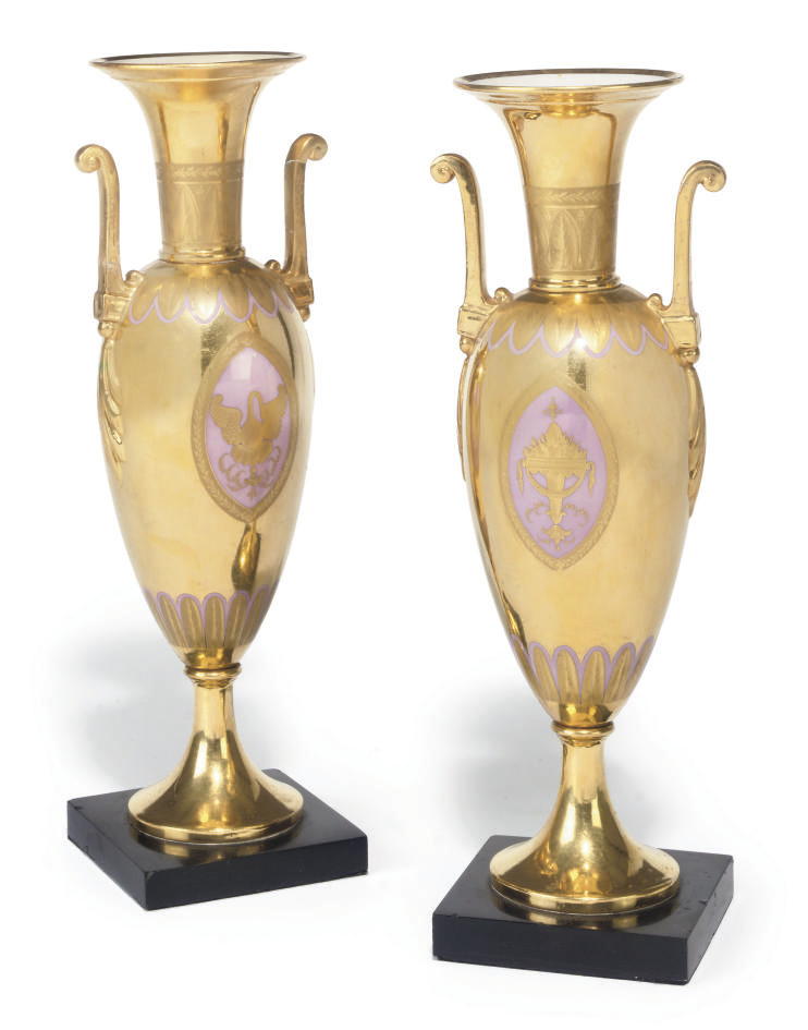 A PAIR OF PARIS PORCELAIN GILT