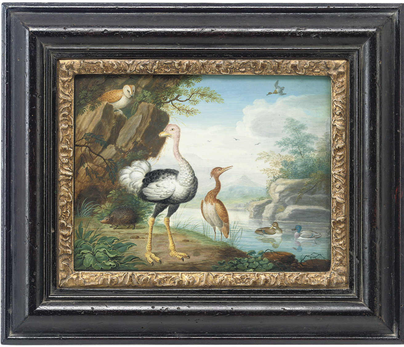 Exotic birds and an owl on the banks of a river